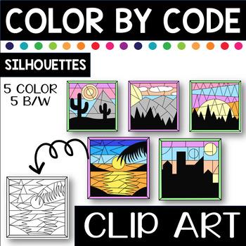 Landscape Silhouette Designs Color by Code Clip Art