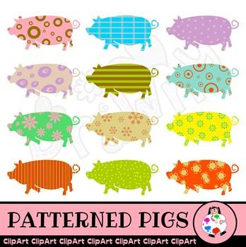 Silhouette Farm Pig Clip Art Set
