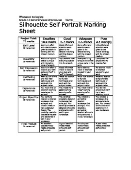 Silhouette Portraits Marking Sheet