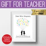 Balloon Fingerprint Thank You Gift - End of Year Teacher Appreciation Gift