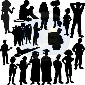 Silhouettes: High School Teens 150 pc. Clip-Art Set