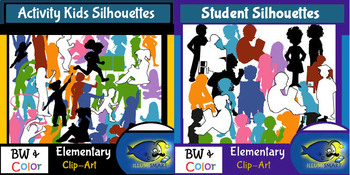 Silhouttes BUNDLE! 600+ Clip-Art Collection! BW, Outline, and Color!