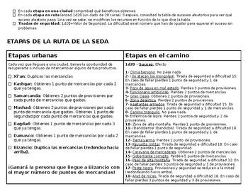 Silk Road Game in Spanish and English - Juego Ruta de la Seda