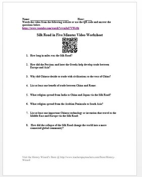 Silk Road in 5 Minutes Video Worksheet