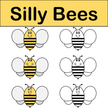 Silly Bees Spring Clip Art Color & Black/White