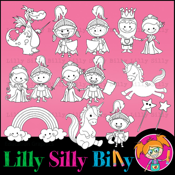 Clipart Unicorn Fairy Tale BLACK AND WHITE & Color Deluxe Set{Lilly Silly Billy}