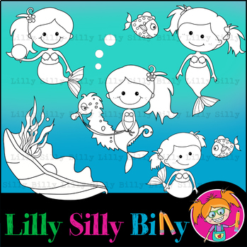 Clipart Mermaids BLACK AND WHITE & Color Deluxe Set {Lilly Silly Billy}