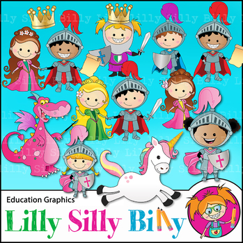 Clipart Fairy Tale BLACK AND WHITE and Color Deluxe Set {Lilly Silly Billy}
