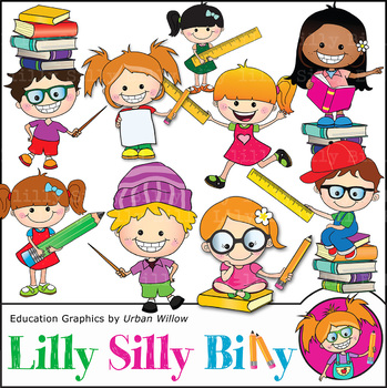 Clipart Pointing Kids 2 {Lilly Silly Billy}