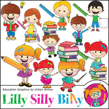 Clipart Pointing Kids {Lilly Silly Billy}