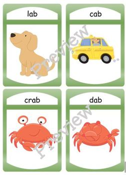 """Silly CVC """"ab"""" Story Worksheet, Puzzles and Flashcards"""