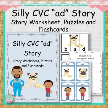"Silly CVC ""ad"" Story Worksheet, Puzzles and Flashcards"