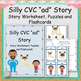 """Silly CVC """"ad"""" Story Worksheet, Puzzles and Flashcards"""