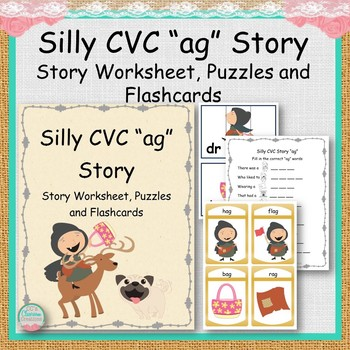 "Silly CVC ""ag"" Story Worksheet, Puzzles and Flashcards"