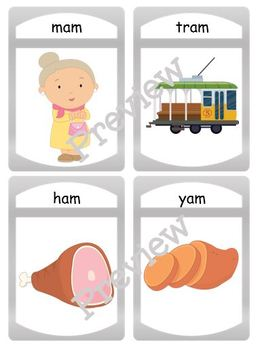 "Silly CVC ""am"" Story Worksheet, Puzzles and Flashcards"