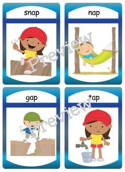 "Silly CVC ""ap"" Story Worksheet, Puzzles and Flashcards"