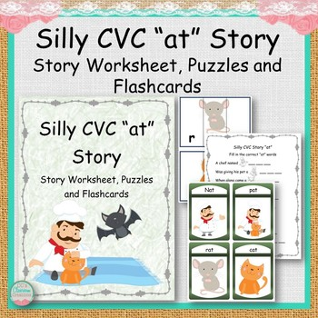 "Silly CVC ""at"" Story Worksheet, Puzzles and Flashcards"