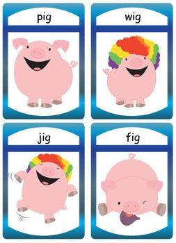 "Silly CVC ""ig"" Story Worksheet, Puzzles and Flashcards"