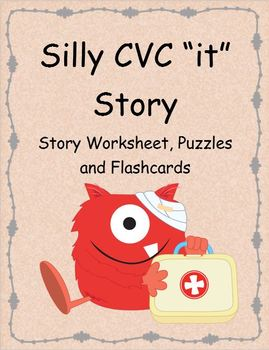 "Silly CVC ""it"" Story Worksheet, Puzzles and Flashcards"