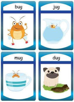 "Silly CVC ""ug"" Story Worksheet, Puzzles and Flashcards"