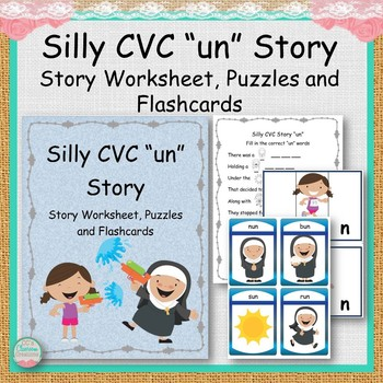 """Silly CVC """"un"""" Story Worksheet, Puzzles and Flashcards"""