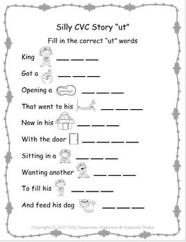 "Silly CVC ""ut"" Story Worksheet, Puzzles and Flashcards"