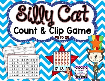 Silly Cat Count and Clip Game - Numbers to 20