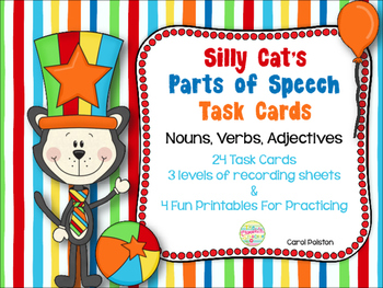 Silly Cat Parts of Speech Task Cards