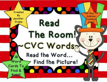 Silly Cat 'Read The Room' for CVC Words!  18 Cards & Recording Sheet!