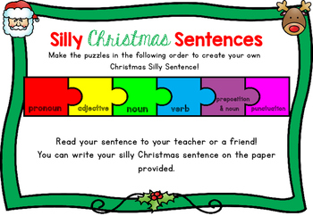 Silly Christmas Sentences FREEBIE