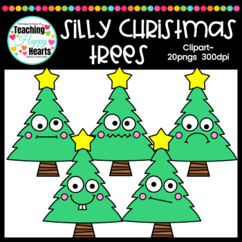 Silly Christmas Trees Clipart