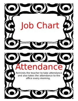 Job Chart Black White (Silly Circle Collection) Edit Classroom Jobs