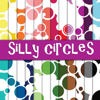 Silly Circles - Digital Paper Pack - 24 Different Papers -