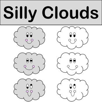 Silly Clouds Clip Art Color & Black/White