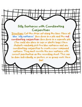Coordinating Conjunctions (FANBOYS)- Silly Sentences