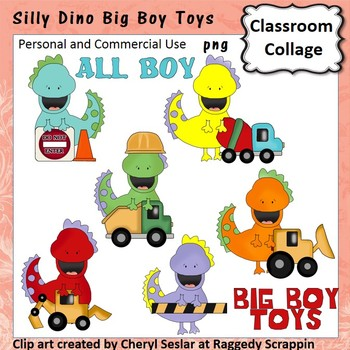 Silly Dinos Big Boy Toys Clip Art personal & commercial use C Seslar
