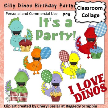 Silly Dinos Birthday Party Clip Art personal & commercial use C Seslar