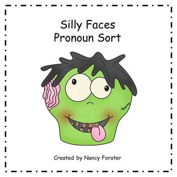 Pronoun Sort Halloween Silly Faces