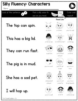 Silly Fluency | Reading Fluency | Practice | Read Across America