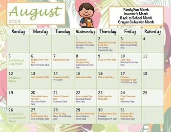 Silly & Fun Holidays for Each School Day Calendar 2018-19  - Free