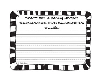 Silly Goose Classroom Rules Craftivity