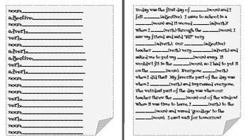Back to School - Mad Libs-Style Grammar Games!