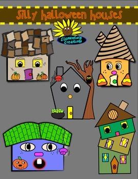 Silly Halloween Houses clipart