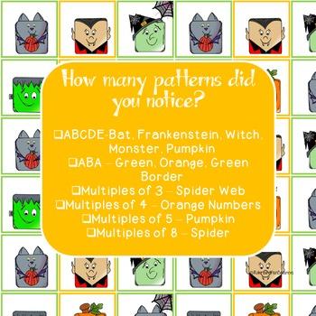 Silly Halloween Monsters Math Calendar Pattern-Teach Multiples