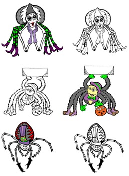Silly Halloween Spiders Commercial Clipart