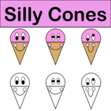 Silly Ice Cream Cones Summer Clip Art Color & Black/White