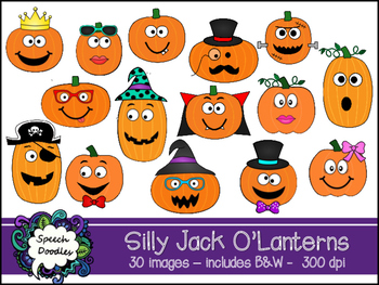 Silly Jack O Lanterns clipart -Personal & Commercial Use- 30 images!