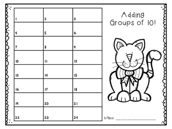Silly Kitty {Adding groups of 10 to a 2-digit number}