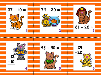 Silly Kitty {Subtracting groups of 10 to a 2-digit number}