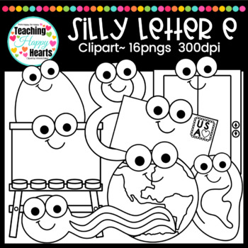 Silly Letter e Clipart